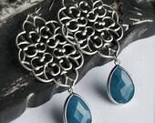 Chandelier Earrings-SIlver Filigree Crest Drop Earrings with Vibrant Azure Bezel Set Stones-Bridesmaid Earrings