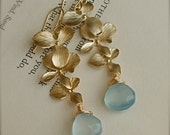 Gold Flower Orchid Cascade and Periwinkle Sky Blue Chalcedony, bridesmaid bride gift, fall fashion, choose your own ston