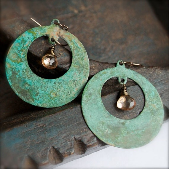 Patina Chandelier Earrings with Citrine Briolettes-Vintage Chic-Verdigris