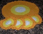Candy Corn Doily with Matching Coasters