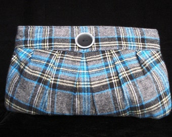 Plaid flannel pleated clutch