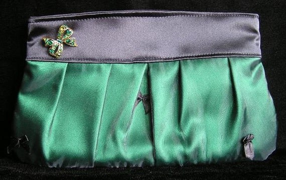 Emerald green black satin pleated clutch evening bag with rhinestone pin-bridesmaid prom bridal wedding
