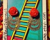 Gorgeous, vintage style red rosette, metal filigree drop stud earrings. (polymer clay roses)