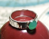 Green Chrysoprase Marriage of Metals Silver and Copper Ring