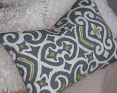 Grey Pillow  / Yellow Gold / Lumbar  / 12x18