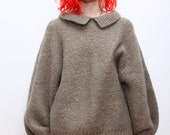Taupe Oversized Wool Sweater with Collar L