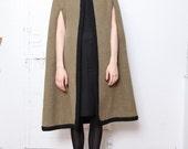 70s Moss and Black Hooded Cloak