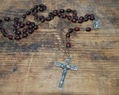 SALE Burgundy Wooden Bead Rosary