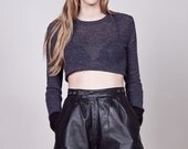 90s Grey Cropped Midriff Sweater S
