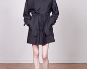 RESERVED 80s Black Avant Garde Raincoat with Storm Flap S