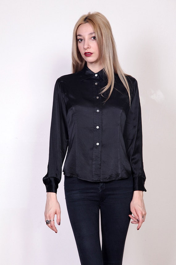Black Fitted Silk Blouse 79