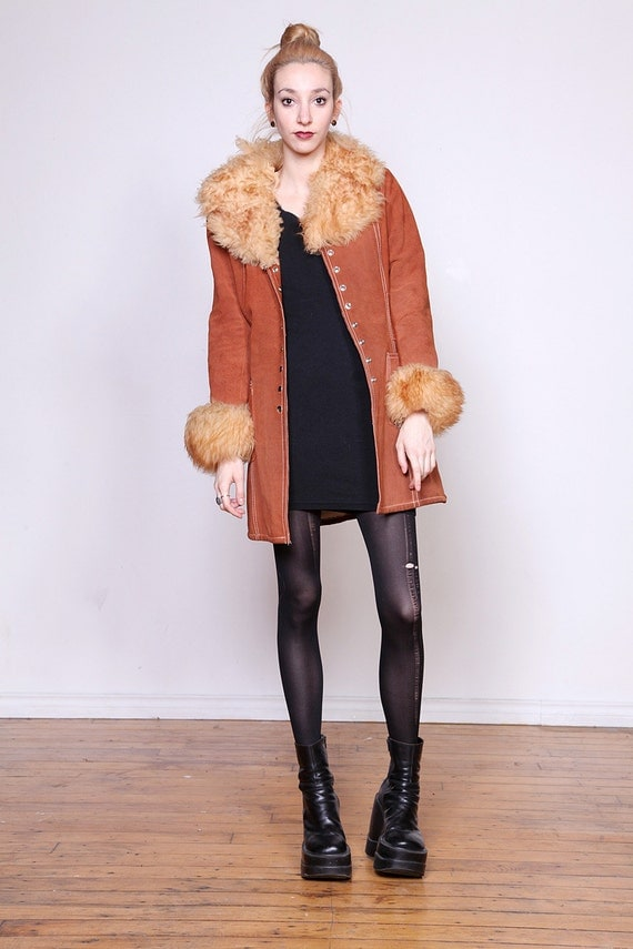 30% OFF 70s Bohemian Sheep Fur Shearling and Suede Jacket S