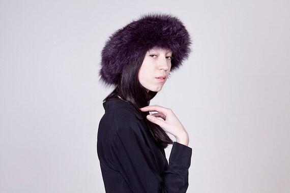 80s Violet Shaggy Fox Fur Headband