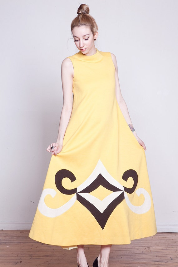SALE 60s Mod Floor Length Yellow Dress with Bold Graphic Panels S-M