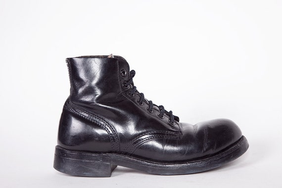 RESERVED 80s Black Leather Military Parade Boots 6.5