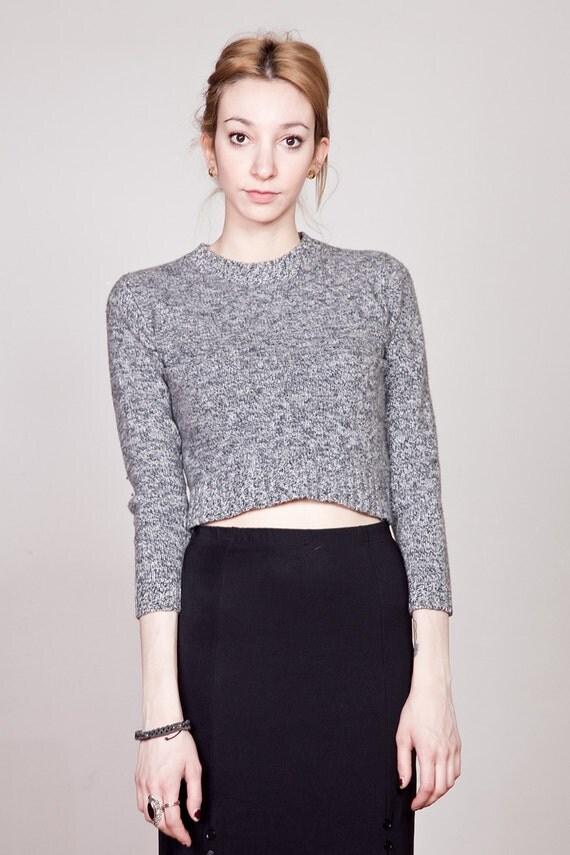 90s Heathered Grey Merino Wool Cropped Sweater XS-S