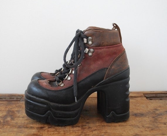 90s Chunky Platform Leather Hiking Boots 7 7.5