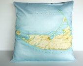 Decorative pillow / Cushion cover/  map cushion NANTUCKET map pillow organic cotton cushion