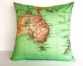 cushion cover, map pillow AUSTRALIA NEW ZEALAND map cushion,  40cm cushion organic cotton cushion cover, pillow, cover, 16 inch, 41cm