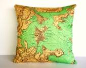Cushion cover, map pillow, throw cushion BOSTON organic cotton, 16 x16 inch, decorative throw pillow