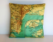 Cushion cover pillow map SINGAPORE map organic cotton map cushion throw cushion cover , pillow, 16x16 cushion