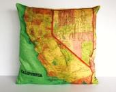 Cushion cover pillow CALIFORNIA  map cushion decorative pillow cushion cover, pillow case, map cushion,