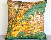 Decorative pillow map NEW YORK eco friendly organic cotton map cushion cover, pillow cover, atlas, vintage map, 16 inch, 41cm