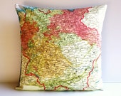 Decorative pillow GERMANY map cushion, organic cotton cushion cover, pillow cover 16x16