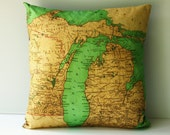 map pillow 16 inch cushion cover, map pillow, state map MICHIGAN vintage map cushions 16 inch pillow,40cm decorative cushion,