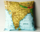 Decorative pillows, Pillow cushion  cover INDIA and NEPAL map cushion, organic cotton, 16 inch, 41cm, vintage map, atlas, pillow ,