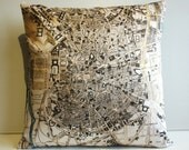 Pillow cover city map MADRID map cushion, organic cotton, cushion cover, pillow, 16 inch cushion, 40cm cushion