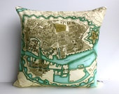 Vintage map / City map/  Decorative pillow/ COPENHAGEN map cushion/ organic cotton / gift for dads/ gift for men/ home decor for men