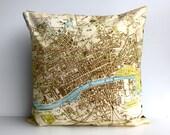 map pillow cushion GLASGOW, Scotland - map pillow cushion cover, organic cotton, pillow, 16 inch, 41cms cushion cover