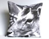 Animal cushion monochrome deer, DEER cushion, 40cm cushion organic cotton  cushion cover, pillow, 16x16 inch pillow