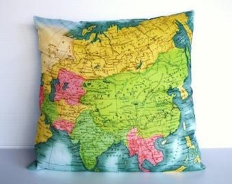 Map cushion cover ASIA - vintage map, organic cotton cushion map pillow cushion, 16 inch, 41 cm