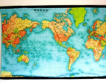 VINTAGE WORLD MAP -huge wall hanging, organic cotton, 57 inches / 145cm long x 36inches/92cms