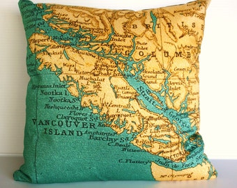 map cushion,40cm x40cm  map pillow, 16x16 eco friendly VANCOUVER ISLAND Organic cotton, cushion cover, pillow cover, 16 inch