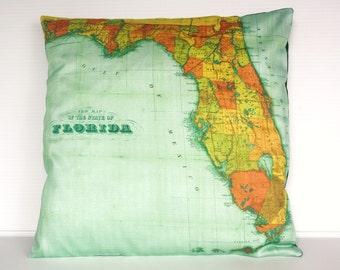 Map cushion vinatge map FLORIDA Organic cotton cushion cover, pillow, map , throw cushion 16x16