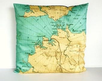 "cushion cover, pillow DARWIN, Australia , map cushion, organic cotton, 16""  pillow cover, 41cm"