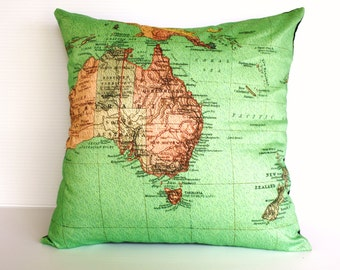 Vintage map cushion cover/ map pillow AUSTRALIA NEW ZEALAND / map cushion/ 40cm cushion/ organic cotton cushion cover.