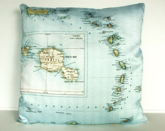 Map print pillow/ Tahiti map print cushion/ Decorative pillow,  map cushion, 16x 16 inch cushion, throw pillow, cushion cover  40cm cushion