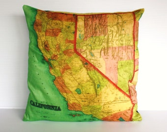 Cushion cover pillow CALIFORNIA  map cushion decorative pillow cushion cover, pillow case, map cushion,