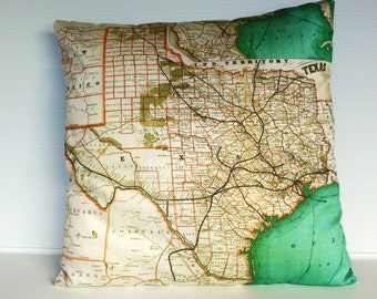 Pillow cover map cushion Texas, Organic cotton, cushion cover, pillow cover, throw pillow, decorative pillow.