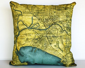 cushion cover, MELBOURNE map cushion map pillow organic cotton, 16 inch pillow 41cm decorative pillow, throw pillow