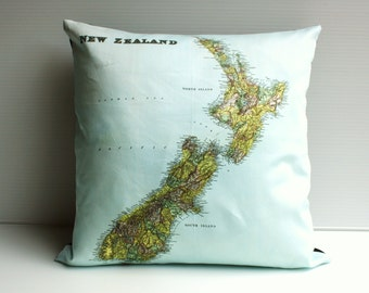 Map Cushion cover pillow map pillow NEW ZEALAND map cushion, organic cotton cushion cover throw cushion