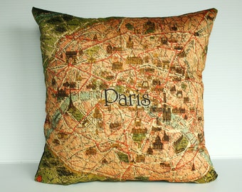 Decorative Pillow covers, map cushion covers PARIS Organic cotton Vintage Paris map cushions, 16 inch pillow, 40cm pillows.