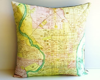Pillow cover, cushion cover PHILADELPHIA map organic cotton, cushion, pillow, map cushion 16 inch