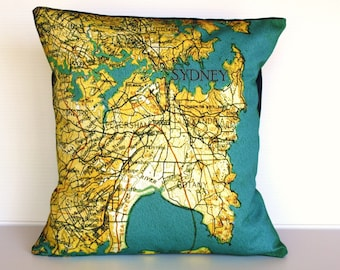 City maps pillow cushion, SYDNEY  organic cotton cushion cover, map cushion, pillow, 16 inch
