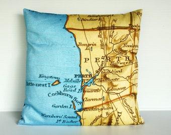 """City maps cushion PERTH / Australia map cushion, organic cotton, pillow, 16"""""""