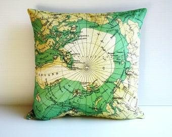 Map cushion cover , Decorative throw cushion map cushion  ARCTIC CIRCLE cushions cover, map pillow, 40cm cushion, 16 inch pillow,